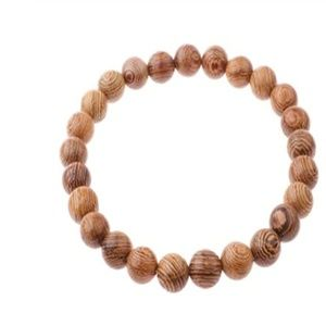 WHOLESALE 10pc Wood Bead Stretch Unisex Bracelets